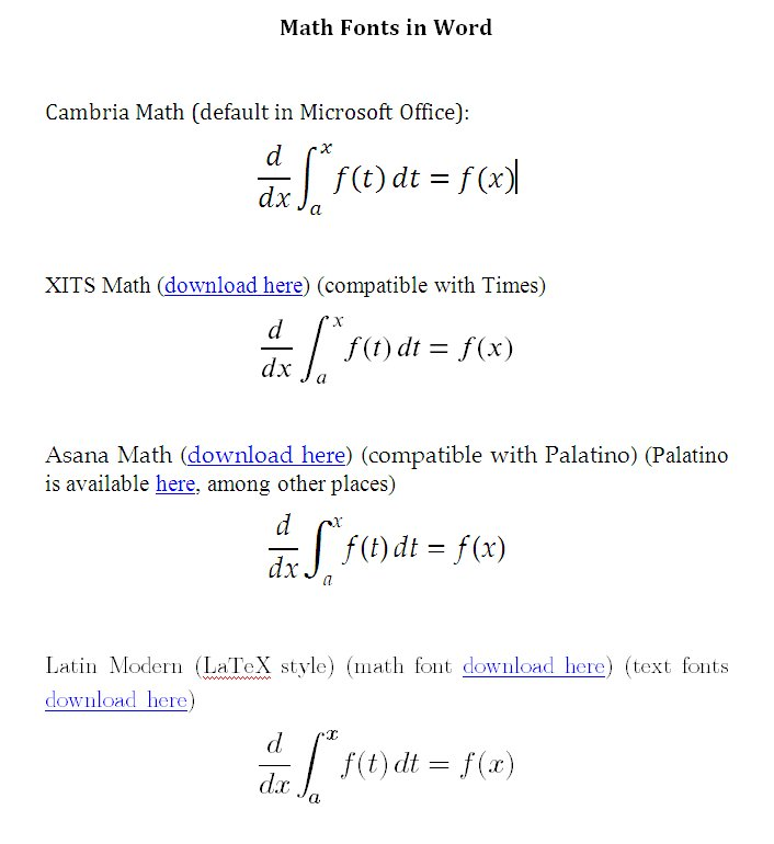 Math Fonts in Microsoft Office | Random Walks