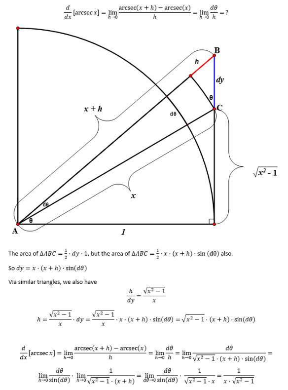Proof of derivative of arcsecx