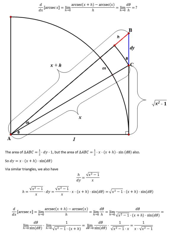 Proof of derivative of arcsecx